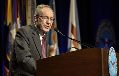 William Perry, shown in this March 2015 photo, was secretary of defense from 1994 to 1997. (Photo credit: Glenn Fawcett/Defense Department)
